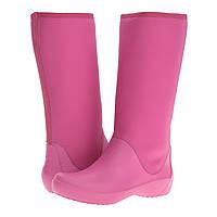 Сапоги резиновые женские высокие мягкие / Crocs Women's RainFloe Tall Boot (203416), Ягодные, фото 1