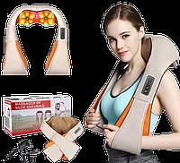Массажер роликовый Massager of Neck Kneading с подогревом - электрическмй массажер для спины, шеи, плеч