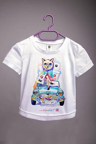 Детская футболка с принтом Кошка