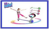 ✅ Скакалка детская на одну ногу светящаяся \ Нейроскакалка крутилка с колесиком и подсветкой