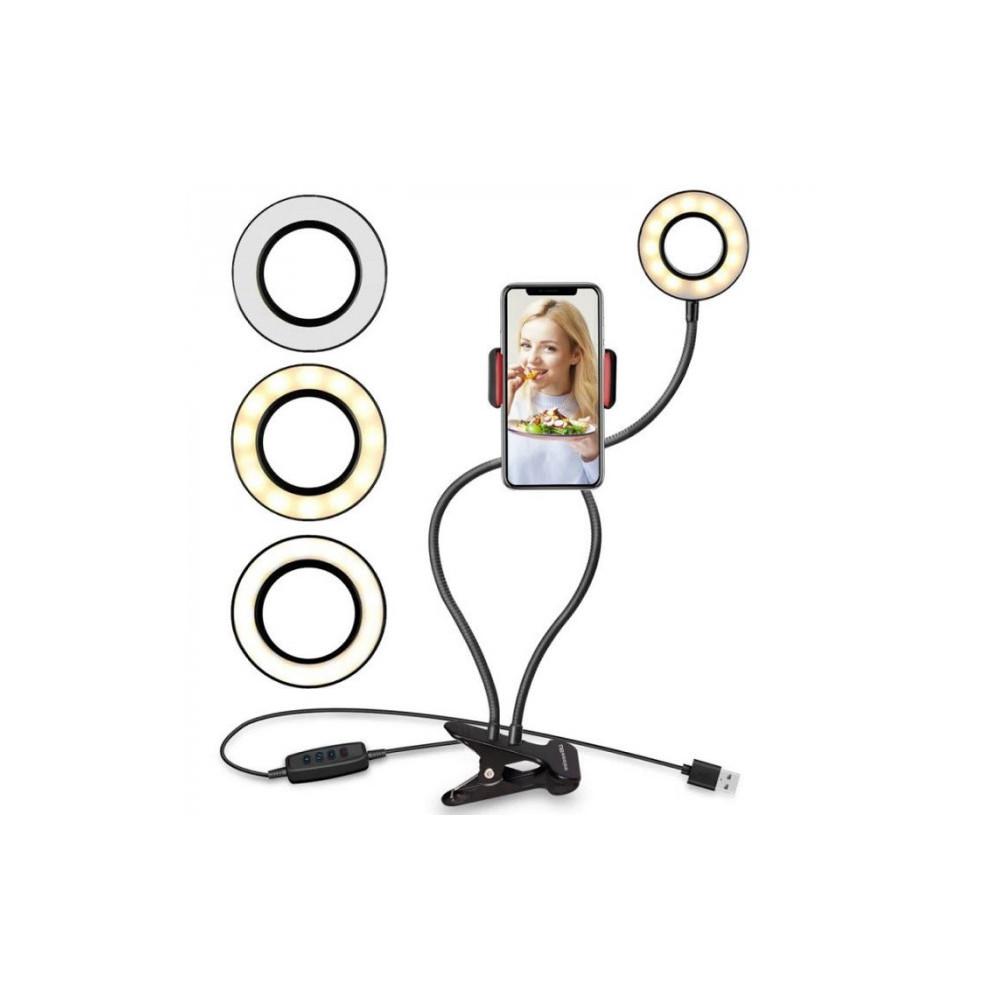Кольцевая LED лампа 9 см. с держателем для смартфона и ножкой