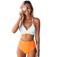 Женский купальник бикини CUPSHE, белый верх оранжевый низ с высокой талией, одноцветный, размер S, фото 1