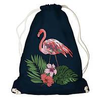Рюкзак-мешок молодежный с принтом для сменной обуви Фламинго и листья