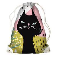 Рюкзак-мешок молодежный с принтом для сменной обуви Чёрный кот