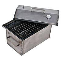 Коптильня горячего копчения 2мм 520х310х280мм с термометром (коптилка,каптилка), фото 1