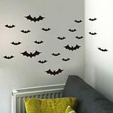 """Наклейки для Halloween """"Летучие мыши"""" - размер наклейки 15*22,5см, (расклеиваете по-желанию), фото 3"""