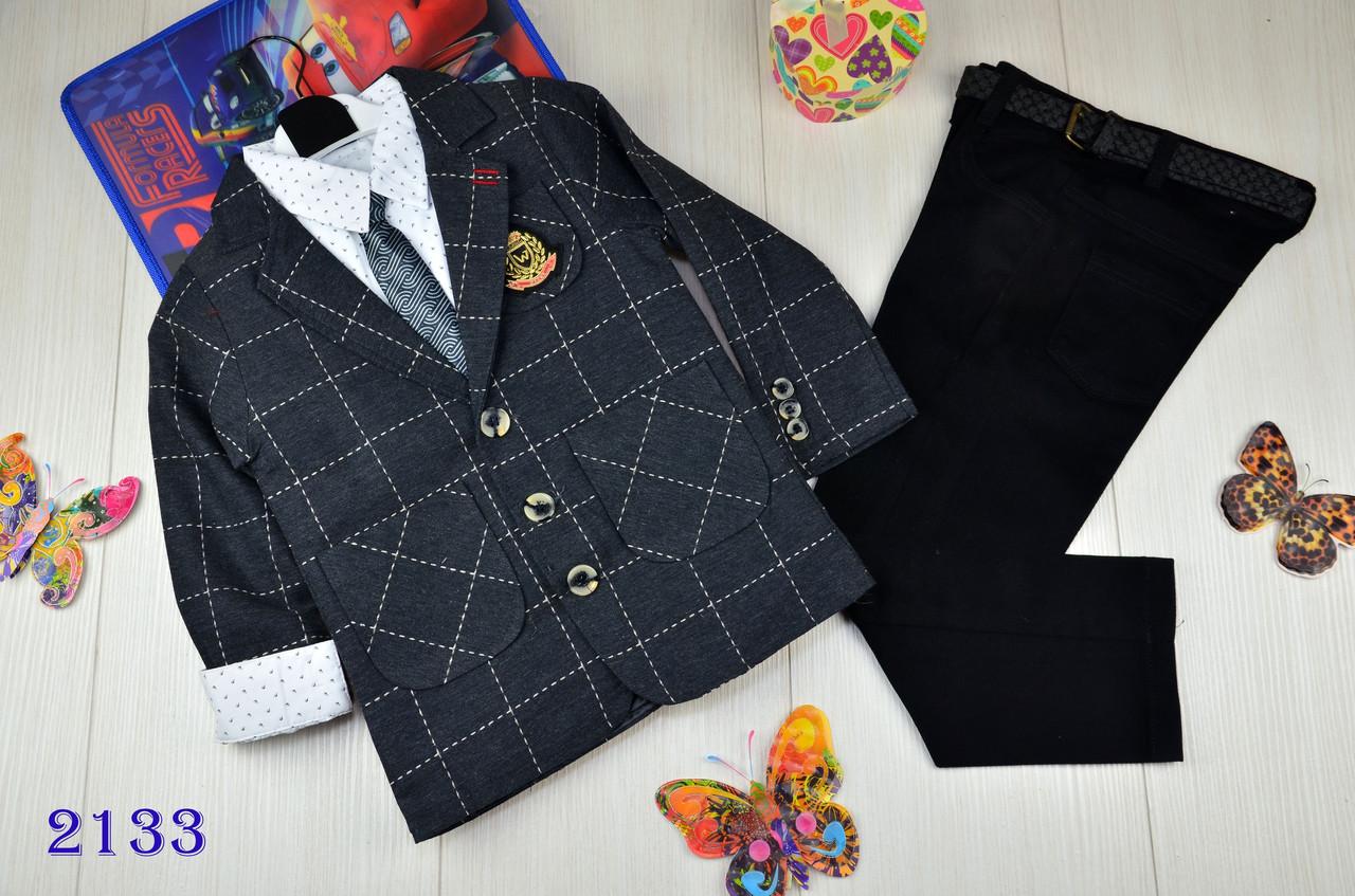 Нарядный костюм тройка котонновый на мальчика  Люкс качества 5-7лет  серый