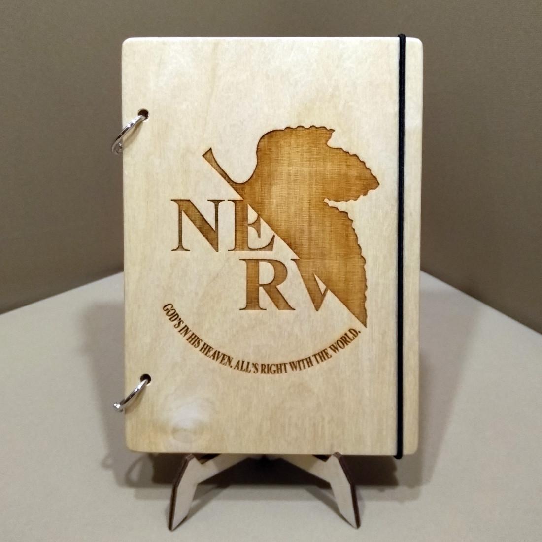 Скетчбук NGE. Блокнот с деревянной обложкой Евангелион.