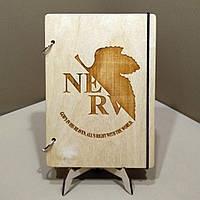 Скетчбук NGE. Блокнот с деревянной обложкой Евангелион., фото 1