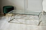 Стіл журнальний CF-1 прозорий, прямокутний, метал срібло, фото 5