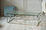 Стіл журнальний CF-1 прозорий, прямокутний, метал срібло, фото 4