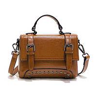 Жіноча шкіряна сумочка міні коричневого кольору, фото 1
