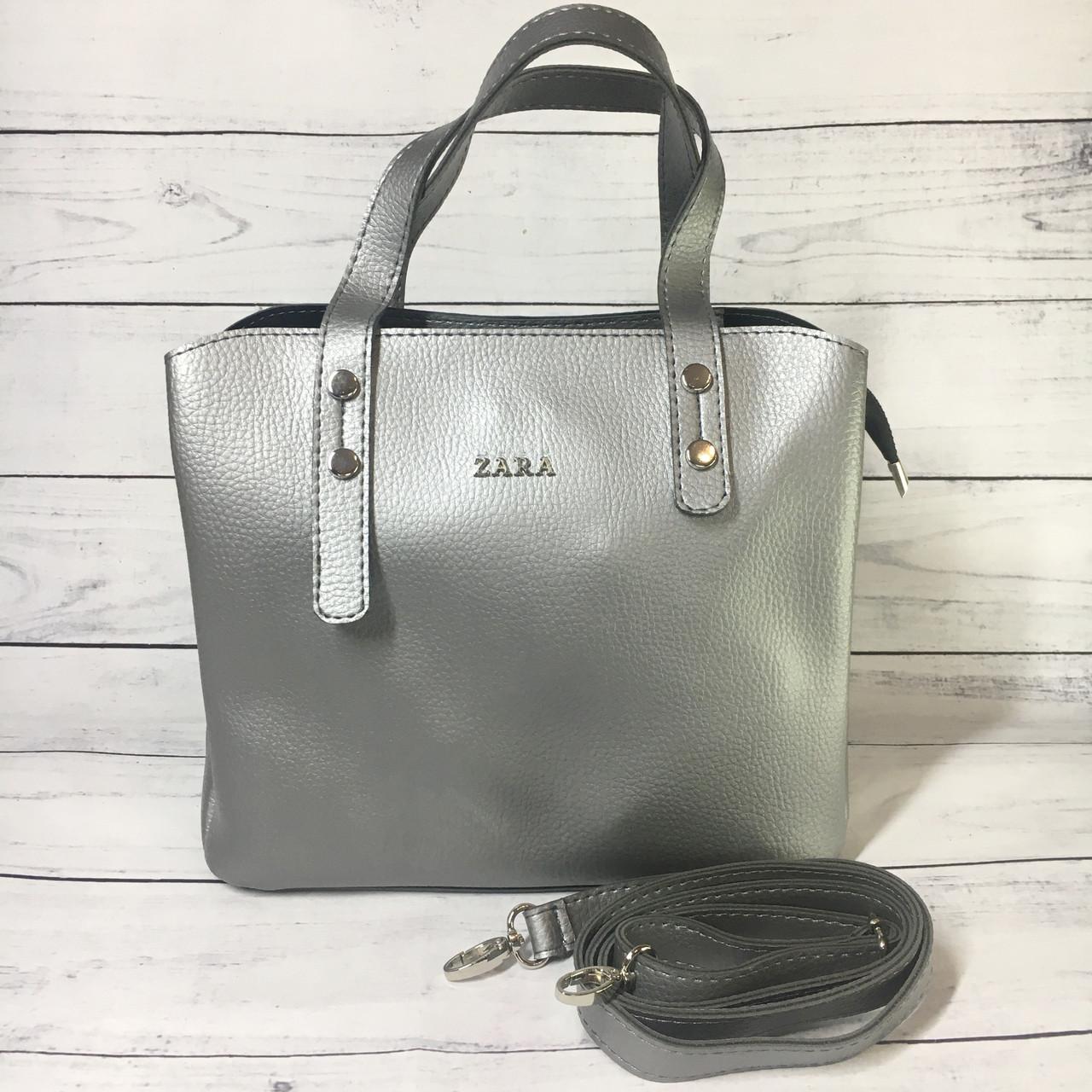 Женская сумка Zara (Зара), серебристая ( код: IBG216S2 )