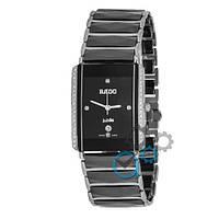 Кварцевые женские часы Rado Integral All Diamonds Silver-Black ( AAA )