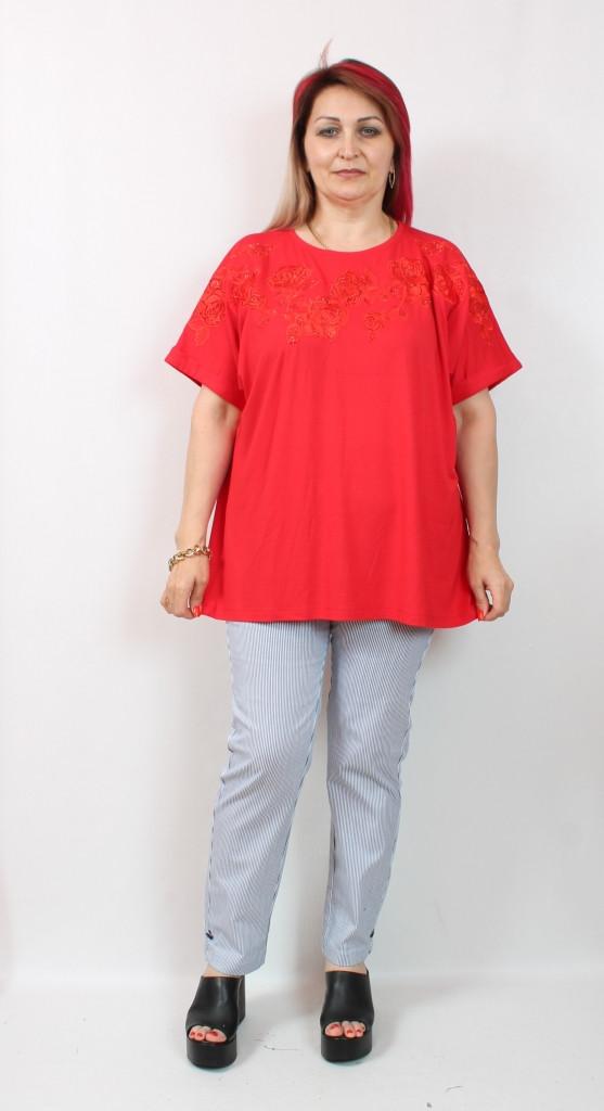 Женская красная футболка Турция, батал 58-64
