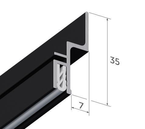 Профиль алюминиевый для натяжных потолков - профиль EUROSLOTT стеновой для ткани