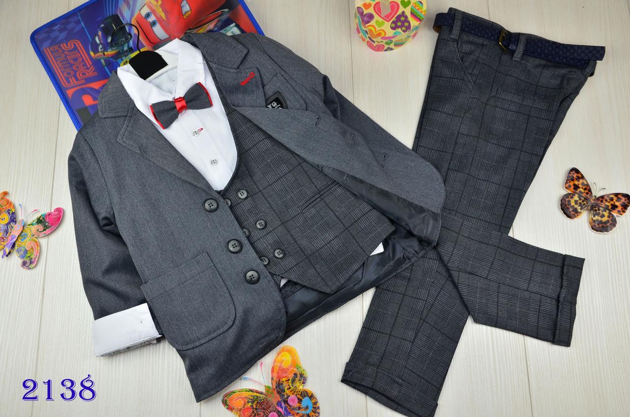 Нарядный костюм 4-ка котонновый на мальчика  Люкс качества 5-8 лет серый