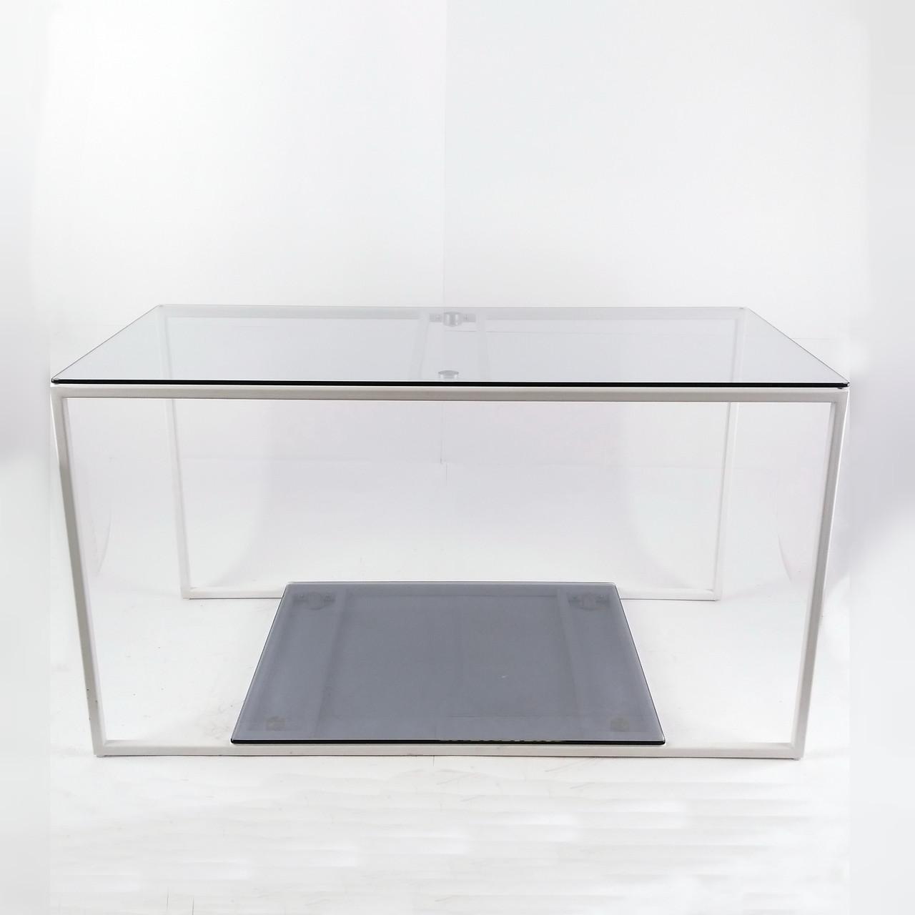 Стіл журнальний Куб 900 скло 6 мм прозоре/графіт - білий метал (Cub 900 cg-wt)