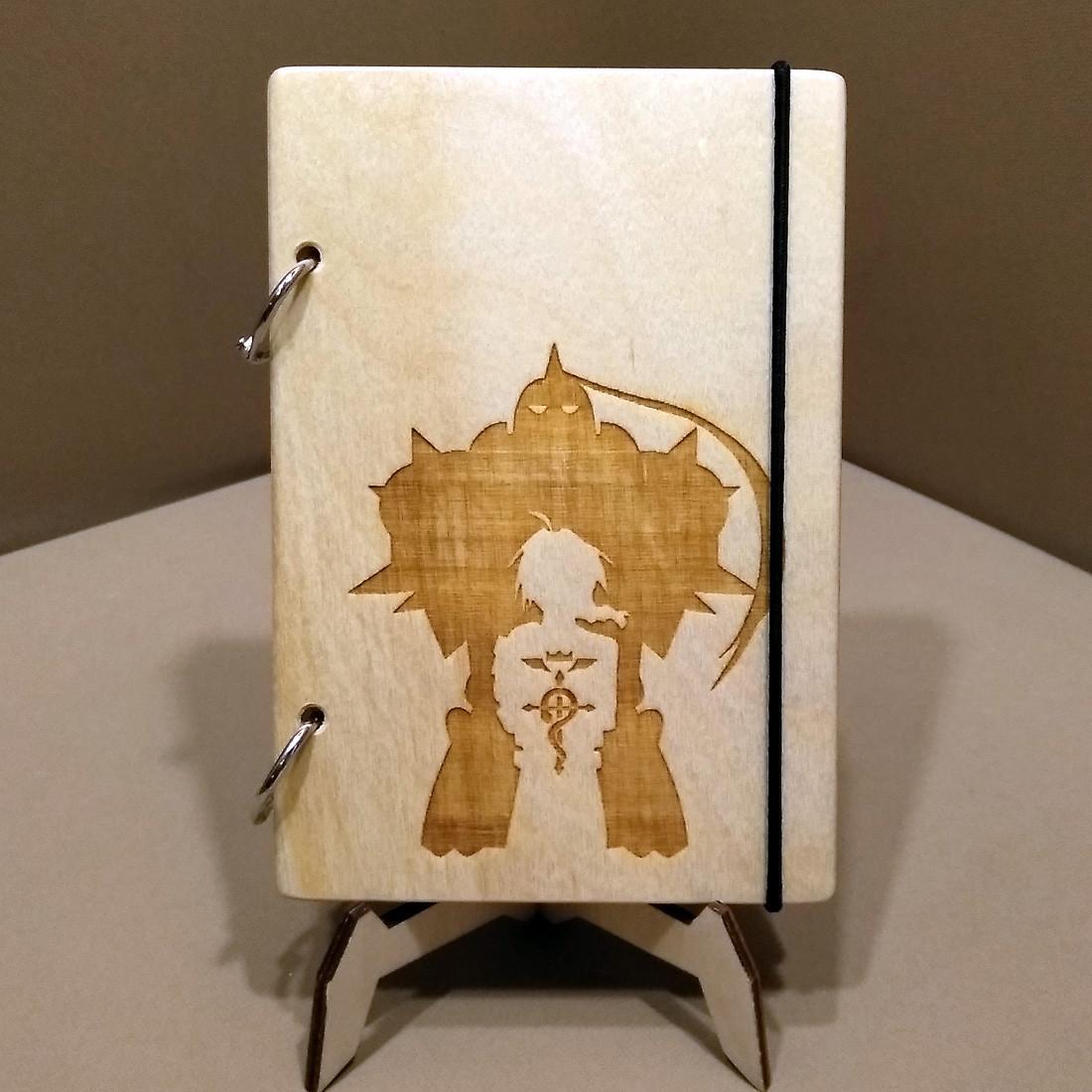 Скетчбук Fullmetal Alchemist. Блокнот с деревянной обложкой Стальной алхимик.