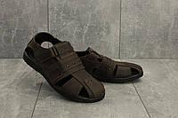 Мужские сандали кожаные летние коричневые Yuves 155