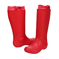 Сапоги резиновые женские высокие мягкие с манжетом / Crocs Women s RainFloe Boot (12424), Красные