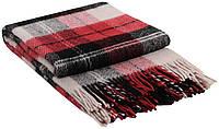 Шерстяной плед Vladi Эльф №2 Полуторный 140х200 см Красный с черным (1005558)