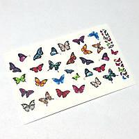 Слайдер для ногтей бабочки, водная наклейка для маникюра B1-250