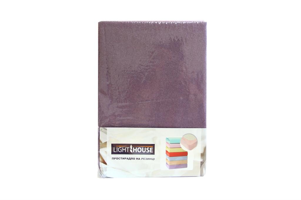 Простынь махровая на резинке 160х200+25 Light House сливовый