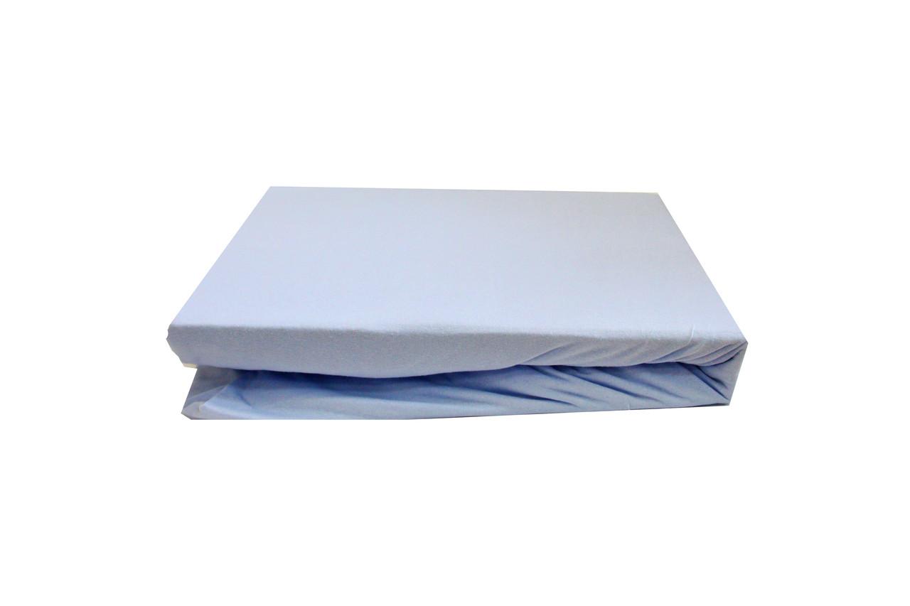 Простынь трикотажная на резинке 180х200+25 Light House голубой