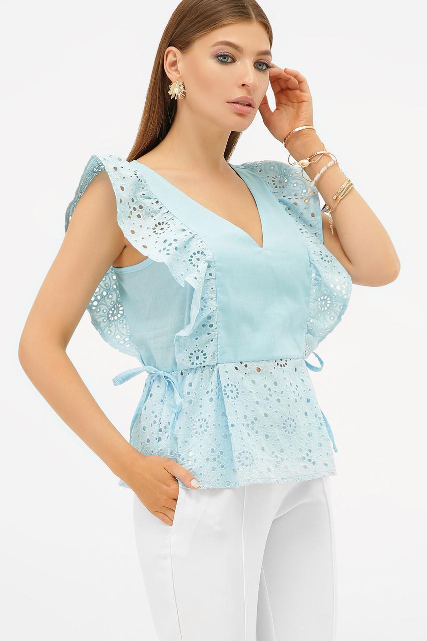 Летняя хлопковая блуза в нежном голубом цвете Илари