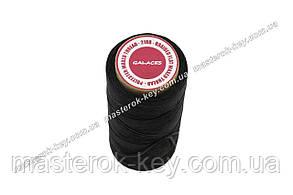 Galaces 1.00мм черный (S999) плоский шнур вощёный по коже (картон)