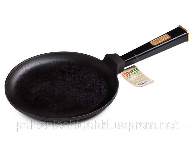 Сковорода блинная 24х1.5 см чугунная с ручкой Optima Black,  BRIZOLL
