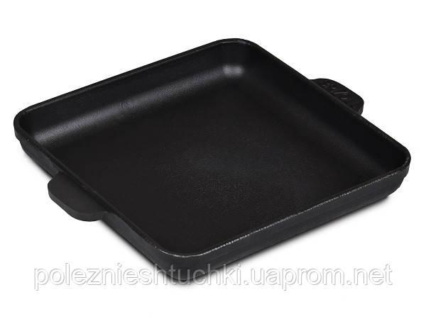 Сковорода порционная Brizoll чугунная квадратная 18х18х2.5 см. черная с ручками (H181825)
