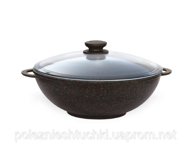 Сковорода ВОК БИОЛ Granite Brown с 2-мя ручками и крышкой 28 см (28033ПС)