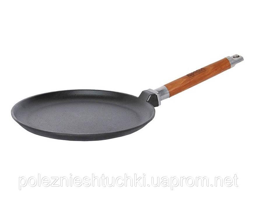 Сковорода Биол блинная 24х2 см. чугунная, съемная ручка (04241)