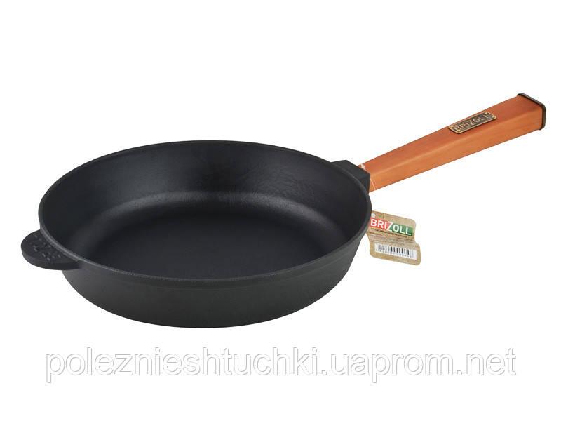 Сковорода Brizoll Optima блинная круглая 26х6 см. чугунная с ручкой (О2660-Р)