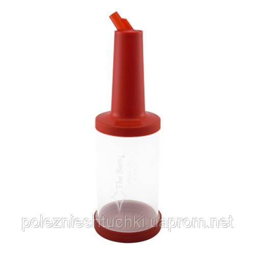 Бутылка барная для миксов 1 л. с красной крышкой, прозрачная, пластиковая The Bars