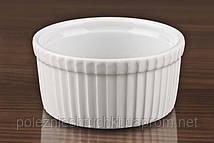 Форма для крем-брюле 11,5х5 см. с рельефом, фарфоровая, белая Ameryka, Lubiana