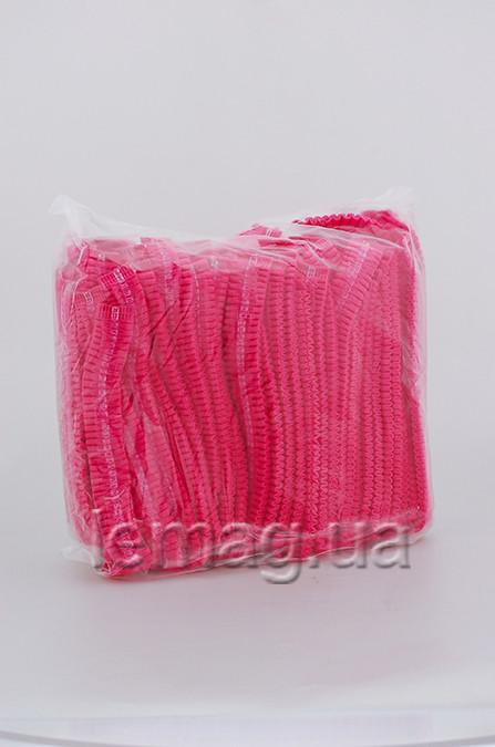 Etto Шапочки одноразовые из тонкого флизелина на мягкой резинке, розовые 100 шт.