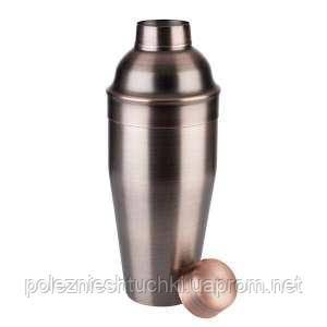Шейкер для коктейлей медный матовый 0,7 л, d-90 мм, h-230 мм, нержавеющая сталь
