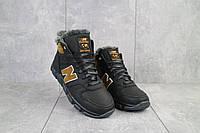 Подростковые кроссовки кожаные зимние черные-рыжие New Mercury круз