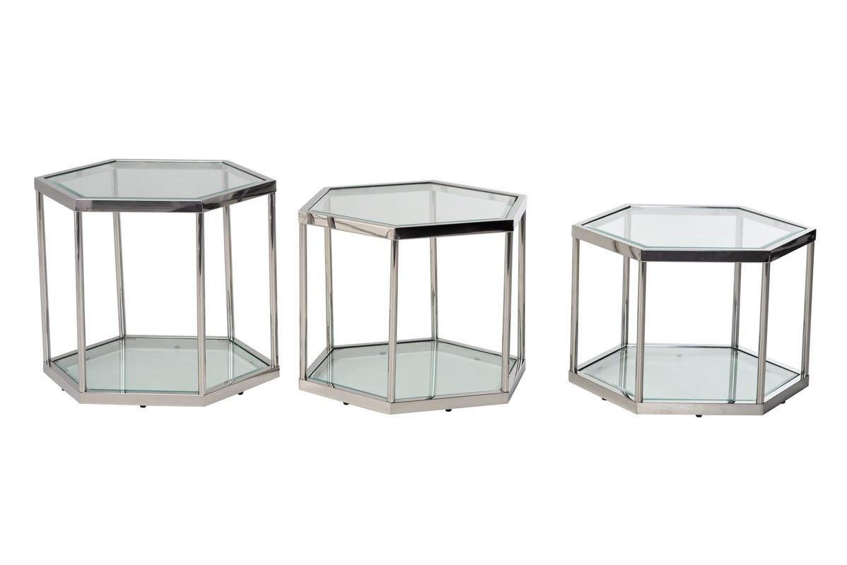 Стіл журнальний скляний CK-1 прозорий + метал срібло