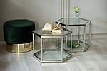 Стіл журнальний скляний CK-1 прозорий + метал срібло, фото 10