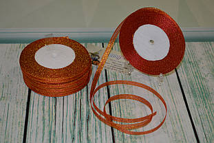Лента парча, 6мм (22метра), цвет - красно-оранжевый