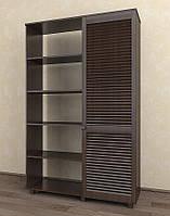 Шкаф с жалюзийными дверями из натурального дерева Тавол Сиеко 1Д2С4ПОЛ 1120х380х1770 Венге