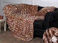 Покрывало меховое двухстороннее Норка-Травка Пушистик на двухспальную кровать 200х220 (евро), на подарок