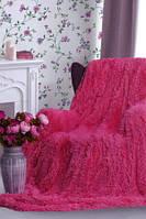 Плед покрывало на кровать меховое Травка Мишка Страус Пушистик 200х220 (евро), в подарок