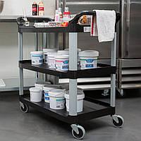 Сервисная тележка для кафе, бара, ресторана профи (черные полки,материал АВС),(128х50х96см), фото 1