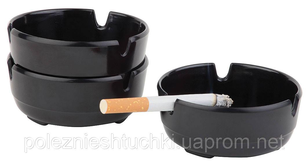 Пепельница меламиновая (набор 3 шт) d-80 мм, h-30 мм, черная, APS