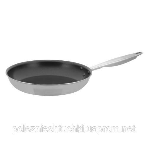 Сковорода с антипригарным покрытием, нержавеющая сталь, тройное дно TRI-GEN, диаметр 30 см